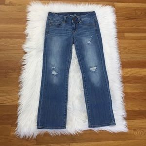 American Eagle Distressed Artist Crop Jeans.